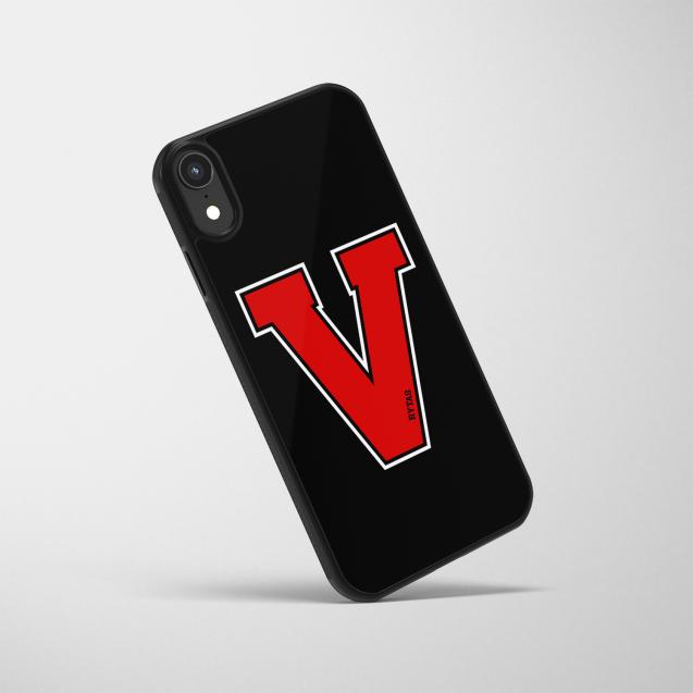 """Telefono dėklas """"V"""", juodas-raudonas"""