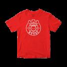 Raudoni sirgaliaus marškinėliai su logotipu